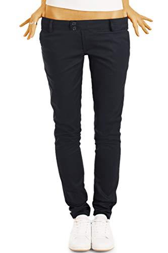 bestyledberlin BE Styled Damen Chinos - Stoffhosen, röhrige hüftige Passform, mit Stretch h15a 38/M schwarz
