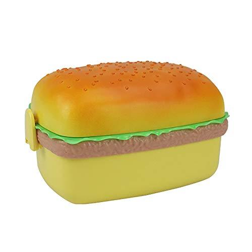 YJY Fiambrera creativa para niños Hamburguesa Bento Box School con comidas para uso doméstico Microondas, con vajilla incluida, cuadrada
