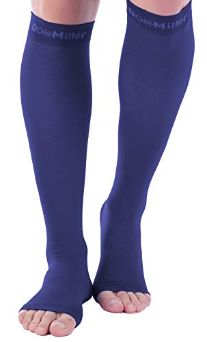 Doc Miller Open Toe Compression Socks 1 Pair 20-30mmHg Support (Dark Blue, XL)