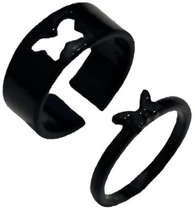 LIUJIR Butterfly Ring,Couples Matching Best Friend Trendy Promise Rings Set for Teen Girls Her Gold Plated Adjustable Finger Thumb Jewelry(Black)