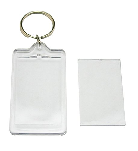 ASTRQLE 10PCS Clear Blank Photo Image Picture Frame Framework Keychain Key Buckle Ring(Rectangle)