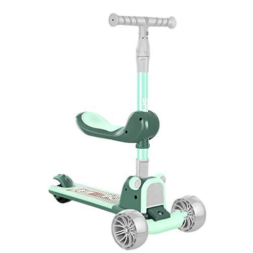 ZHIHUI Scooter Patinete 3 Ruedas Scooter con Asiento Magro para Dirigir El LED Extra Ancho Ruedas Intermitentes Rueda Trasera Freno Ajustable Altura Scooter (Color : Green)