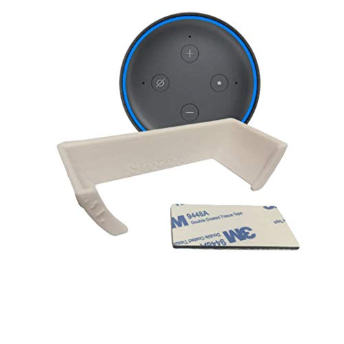 Soporte Pared - Amazon Alexa Echo Dot 3 ª Generación Altavoz Inteligente con Alexa (SIN Agujeros, con Cinta Adhesiva, Blanco)