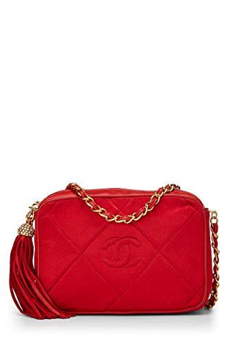 CHANEL Red Satin Diamond Camera Bag Small (Renewed)