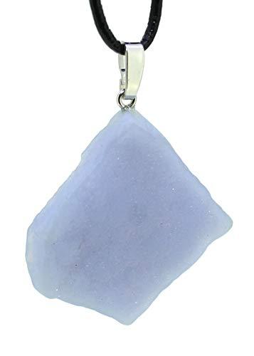 budawi® - blauer Chalcedon Rohstein Anhänger Kettenanhänger 925er Silberöse