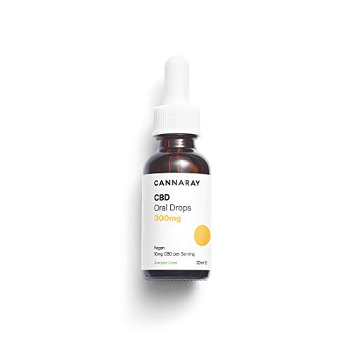 Cannaray CBD, Oil Drops Juniper Lime Flavour, Regular Strength, 300mg, 30 ml