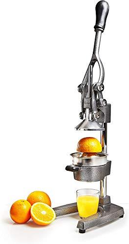 Lumaland Exprimidor de Frutas Manual con Palanca - Exprimidor de Acero Inoxidable para Naranjas, Limones y Zumo - Exprimidor de Cítricos Profesional y Duradero a Mano - Plata