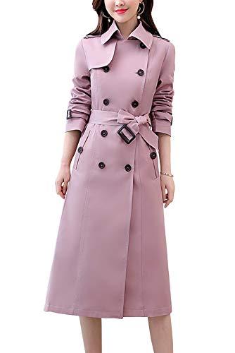 벨트를 가진 양치질 여성 클래식 더블 브레스트 미디-렝스 트렌치 코트