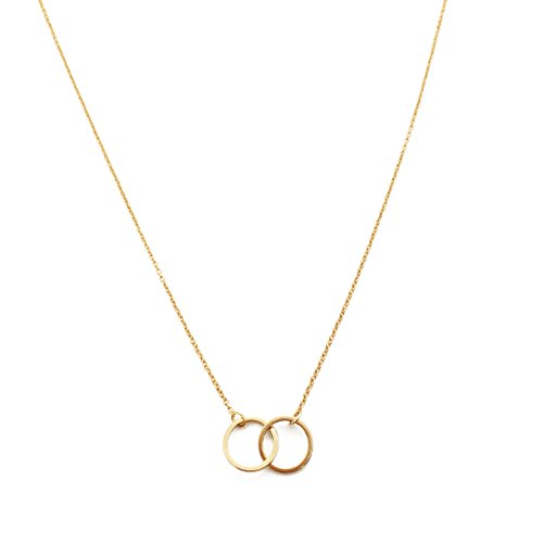 HONEYCAT 18k Gold Plated Mini Harmony Interlocking Circles Necklace | Minimalist, Delicate Jewelry (Gold)