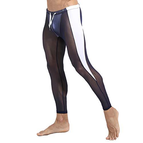Mallas de compresión semitransparentes para hombre, de malla, con cordón, cintura baja, pantalones largos