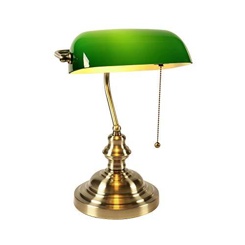 Newrays Lámpara de escritorio de vidrio verde para banqueros con interruptor de cadena de extracción, accesorio enchufable, Acabado de bronce verde