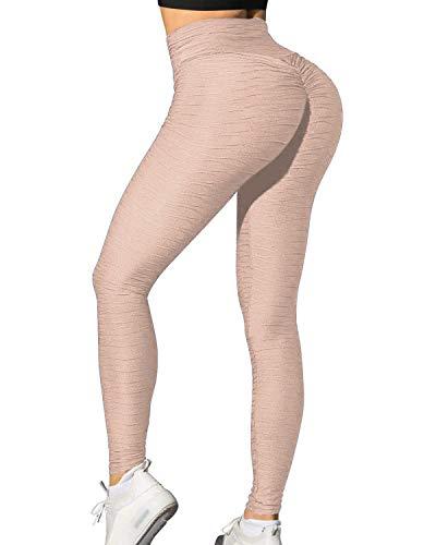Memoryee Frauen Honeycomb Leggings geraffte Hintern heben hohe Taille Yogahosen schick mit Taschen Sport Bauch Kontrolle Gym/Style4-Beige/L