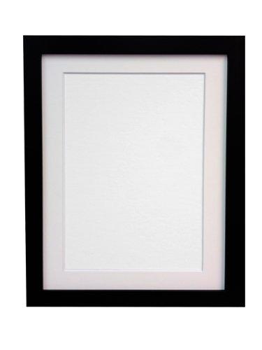 Frames by Post H7 - Marco para foto o lámina, negro, 25 mm de ancho, con paspartú blanco, tamaño DIN A2, para lámina tamaño DIN A3, con cristal de plástico