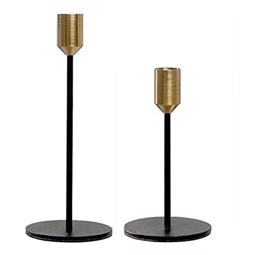 Wuudi Kerzenständer 2 Stück, Dinning Kerzenhalter, Kerzenleuchter Vintage Deko, für Tisch Housewarming Geschenk, Gold (Klein + Groß)