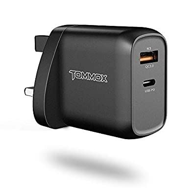 TOMMOX 18W PD USB C Charger - Mini 2-Port Power Delivery Wall Plug with One QC3.0 Fast Charging Adapter Compatible for iPad Pro 2018, iPhone 11/11 Pro/XS/XR/X, Samsung Note10+, Huawei P20/P30 and More