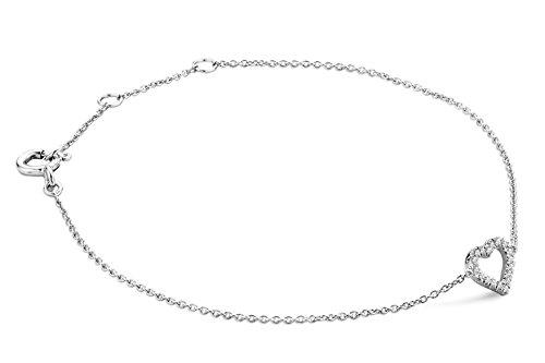 Miore Armband Armreif für Damen Weißgold 9 Karat/ 375 Gold 18 cm Kette mit Herz Diamant Brillianten 0.07 ct 18 cm