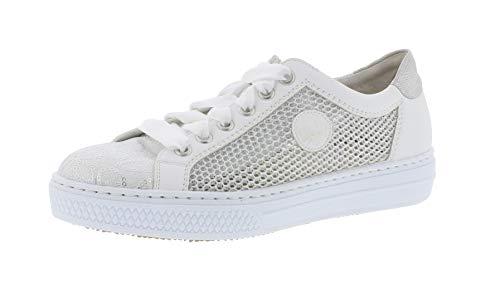 Rieker L59D6 Damen Low-Top Sneaker,Halbschuh,Sportschuh,Schnürschuh,atmungsaktiv,weiss-silber/weiss/81,38 EU / 5 UK