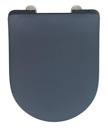 WENKO WC-Sitz Sedilo matt Grau, flacher Toilettensitz mit Absenkautomatik, hygienischer WC-Deckel mit Fix-Clip Befestigung, aus antibakteriellem Duroplast