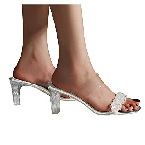 Sandalias tacon mujer blancas Sandalias tacon mujer verano 2021 vestir romanas de elegante,con Cordones transparentes,de Cristal Tacón Zapatillas tacon Alto sexy Sandalias mujer de fiesta oficina