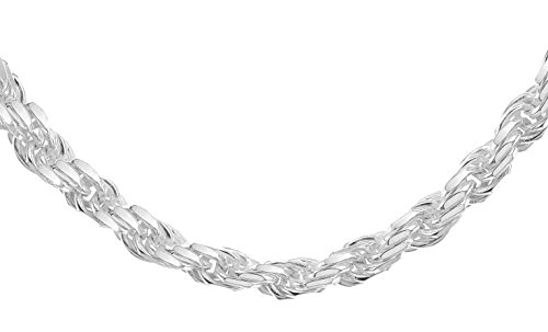 Tuscany Silver Women's Sterling Silver 4 mm Solid Diamond Cut Rope Chain Necklace of Length 41 cm/16 Inch