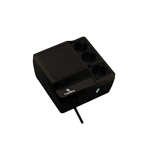 CoolBox SCUDO600 - SAI/UPS Sistema de alimentación ininterrumpida de 600VA/300W con 3 Schukos. Color Negro