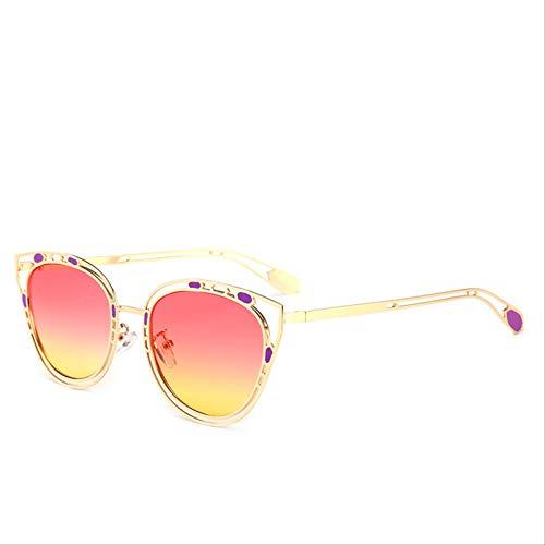 ODNJEMSD Gafas De Sol Metálicas para Mujer Gafas De Sol De Color Hueco De Diseño Gafas De Sol De Verano para Mujer