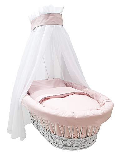 Amigos Ausstattung Bettwäsche für Stubenwagen, Rosa mit grauer Kante