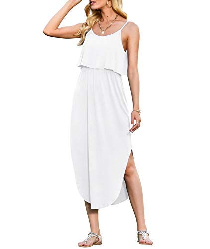 LILBETTER Women#039s Adjustable Strappy Splits Summer Beach Casual Maxi DressesWhiteSmall