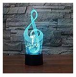 3D Illusion La notación de la música Lámpara luces de la noche ajustable 7 colores LED Creative Interruptor táctil estéreo visual atmósfera mesa regalo para Navidad
