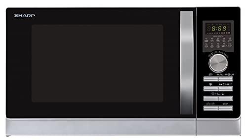 Sharp R843INW microonde 3 in 1 con aria calda, grill e convezione / 25 L/1000 W grill / 2500 convezione / 10 programmi automatici / programma pizza / piatto rotante in metallo (30 cm) / argento