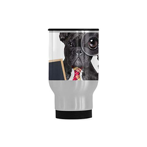 Funny French Bulldog With Cute Gesture Tea Infuser Travel Mug Outdoor Travel Mug Stainless Steel Durable With Handle 14-ounce Cup For Cold & Hot Drinks