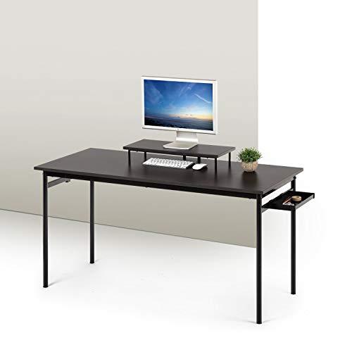 ZINUS Tresa 140נ60cm, escritorio negro de metal con almacenamiento y soporte para monitor   Escritorio con acabado espresso   Mesa para ordenador   Montaje sencillo
