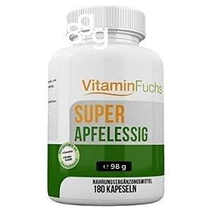 Apfelessig Kapseln hochdosiert. Ideal bei der Stoffwechsel Kur. Apfelessig Pulver - 180 Kapseln von VitaminFuchs