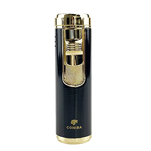 LIXUDECO Humidifier Metal Cigar Cigarette Tobacco Lighter 4 Torch Jet Flame Refillable With Punch Smoking Tool Accessories Portable Gift Box (Color : Black)