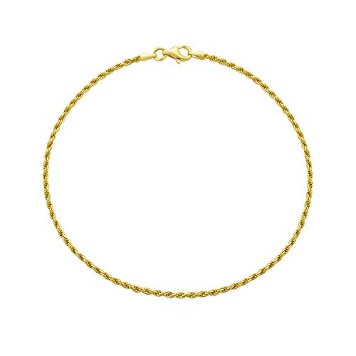 Bling Jewelry Simple Plain Rope Chain Anklet Charm Ankle Bracelet for Women 14K Gold Plated 925 Sterling Silver 50 Gauge Made Italy