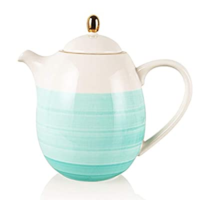 SWEEJAR Ceramic Teapot with Infuser and Lid, 38 OZ(Blue)
