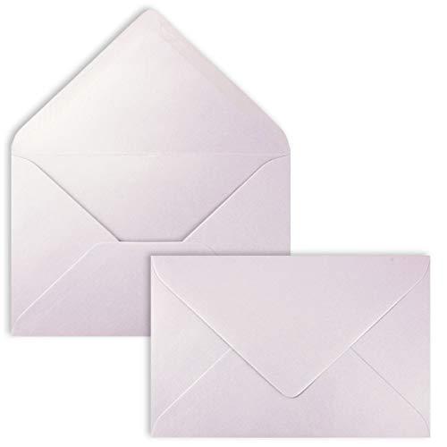 25 x DIN C6 Briefumschläge irisierend Metallic silber-Lila - 11,4 x 16,2 cm - 90 g/m² - Spitze Verschlussklappe, Nassklebung - Qualität aus dem Hause GUSTAV NEUSER
