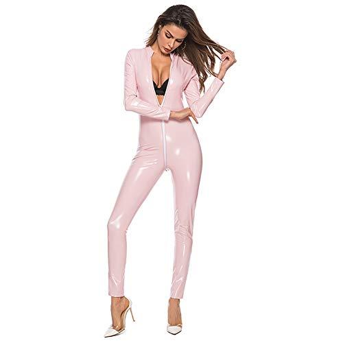 Brandon Christie Frauen Latex Catsuit Leder Ganzanzug Overall Langarm Clubwear Overall Einteiler Phantasie Cosplay Dessous Kleidung, Pink, 4XL
