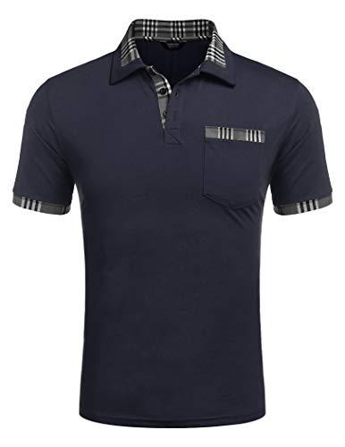 COOFANDY Poloshirt Herren Polohemd Golf Polo Kurzarm Slim Fit Baumwolle Plaid Kragen Sport Sportstil Marine-Blue M