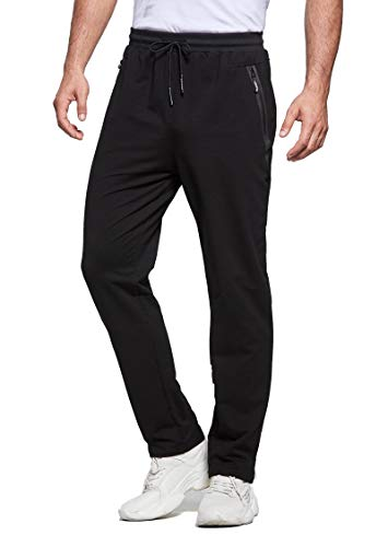 Tansozer Pantaloni Tuta Uomo Sportivi Pantalone Uomo Joggers Cotone Pantaloni Elasticizzati Uomo Jogging Felpa Fitness Pantaloni Neri 2XL