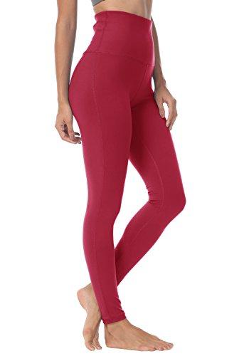 QUEENIEKE Yoga Hosen Damen-hohe Taillen Yoga Leggings mit Tasche Trainings Strumpfhosen für Laufen Fitness Farbe Weinrot Größe L(12