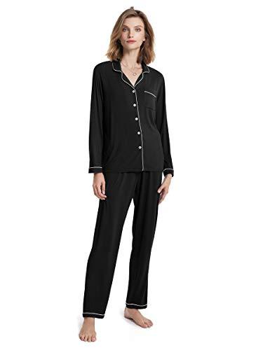 SIORO Womens Pajamas Long Sleeve Pajama Set Soft Cotton Sleepwear 2 Piece Lightweight Loungewear Soft Sleepshirt with Pants, Black with White Piping, Medium