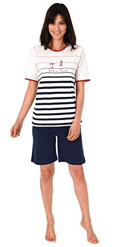 Damen Shorty-Pyjama Kurzarm von Normann in maritimer Optik - 191 205 90 920, Farbe:Marine, Größe2:40/42