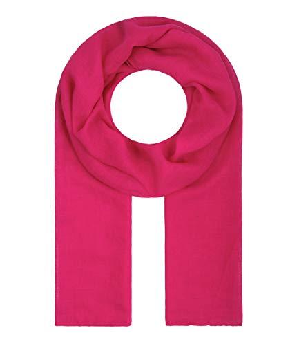Majea Tuch Lima schmal geschnittenes Damen-Halstuch leicht uni einfarbig dünn unifarben Schal weich Sommerschal Übergangsschal (pink)