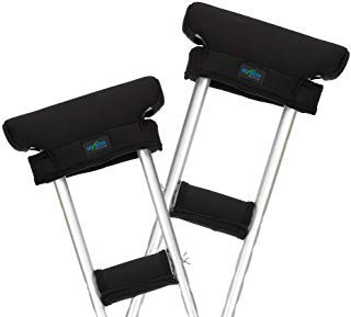 Crutch Pads Crutches Adult Pads Underarm for Armpits Hand Grips Padding Cushions Crutch Covers Foam Pads for Crutches Accessories Under Arm Pillow - 2 Set (Black)