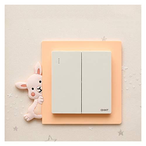 Pegatinas de Pared Dibujos Animados Lindo Creativo Etiqueta de la Etiqueta decoración de la decoración del Interruptor Luminoso de la Pared Etiqueta de Pared Impermeable (Farbe : Orange Rabbit)