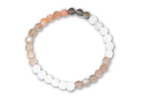 Taddart Minerals – Braun Beiges Armband aus dem natürlichen Edelstein Mondstein mit 6 mm Kugeln auf elastischem Nylonfaden aufgezogen - handgefertigt