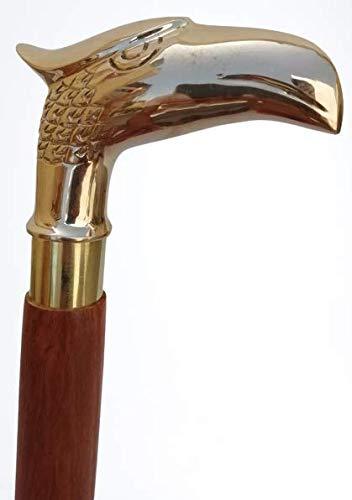 Siddhivinayak Overseas Wooden Cane Sturdy Brass Handle Walking Stick Eagle Head Ergonomic Handle Walking Cane