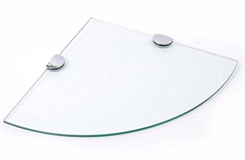 Eckregal aus gehärtetem Glas für Bad, Schlafzimmer, Büro, mit verchromten Regelstützen, 300mm, Glasdicke: ca. 6mm