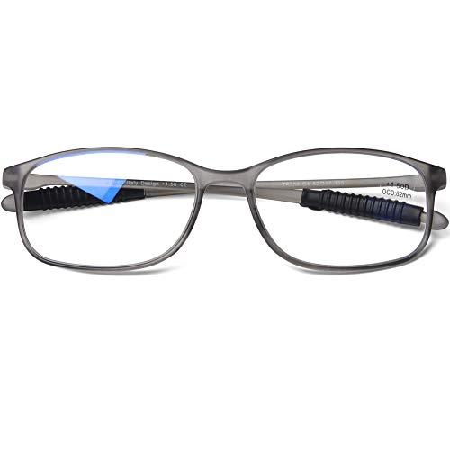 DOOViC Blaulichtfilter Computer Lesebrille Eckig Rahmen Grau Brille mit Stärke Lesehilfe/Sehhilfe für Damen/Herren 2,5